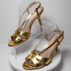 Pelle Moda, Metallic Gold Leather Sandals Size 9.5